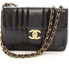 What Goes Around Comes Around Chanel Vert Stitch Jumbo Bag - Black found on Polyvore