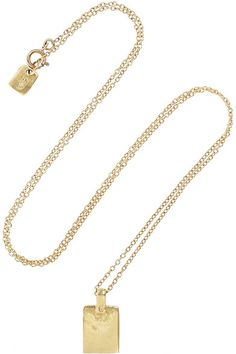 { gold tag necklace }