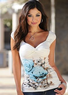 Blue & white rose print top