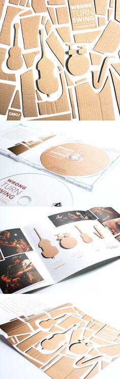 """Handmade CD cover artwork for the German-Italian jazz combo """"Tonarbeiten"""" – http://www.behance.net/gallery/Wrong-Turn-Swing/7840205"""