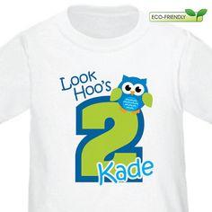 Keoni's 1st birthday shirt! Blue Owl is the theme
