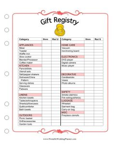 Wedding Gift Registry Checklist : ... Wedding Planner gift registry checklist. Free to download and print
