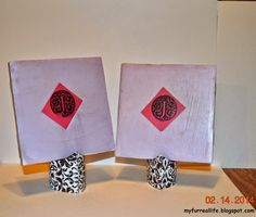 DIY Picture Stand out of modge podged toilet paper rolls