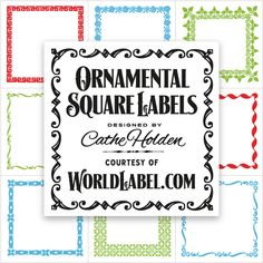 Free Printable Square labels in an Ornamental vintage design by Cathe Holden in 4 colors. Excellent for all types of Favor labeling & labeling gifts.