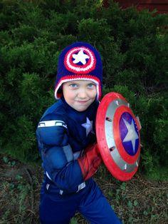 Crochet Captain America Hat  on Etsy, $18.00