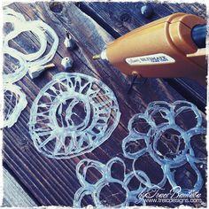 hot glue for hand-made stencils