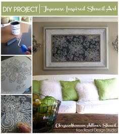 Stenciled wall art project with Japanese Chrysanthemum stencil from Royal Design Studio via Paint + Pattern