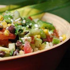 the talk corn salad, salads with feta cheese, corn and tomato salad, black bean