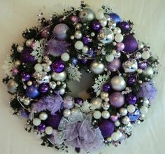 Purple and Silver Wreath with Feather Birds dardawn.etsy.com