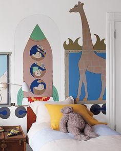 The Kids' Room: Mural of a train creates a magical backdrop.