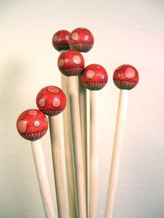 painted wooden beaded knitting needles