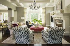 trellis print club armchairs + pink ottoman
