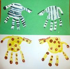 Handprint zoo animals