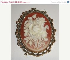 On Sale gold tone Cameo Brooch vintage by PaganCellarJewelry, $20.24