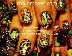 Sugar skull nails!
