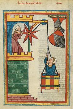 Codex Manesse, 71v, Kristan of Hamle (medieval Lovers, pulled in a basket) ~ Date between 1305 and 1315. ~ Artist  Meister der Manessischen Liederhandschrift; Meister der Großen Heidelberger Liederhandschrift.