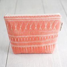 medium cotton zip pouch - Coral Market Weave - slidesideways