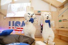 Sochi Mascots visit the #PGFamily home.