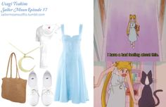Like Sailor Moon Outfits on Facebook! Forever 21 large straw tote in Natural HM dress in Light Blue HM shoes in White Puma lightweight coverup hoodie in White Etsy seller: erladesignsjewelry Gold Moon necklace