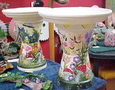 painted-clay-pot-bird-baths