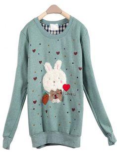 Green Rabbit Round Neck Long-sleeved Sweatshirt$36.00