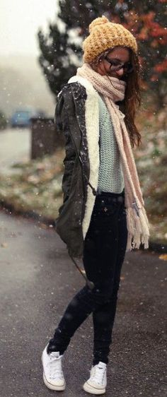 Winter fashion 2014 #outfit #hat #scarf #comfy #cold #warm