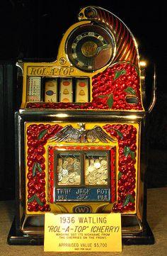 "1936 Watling ""Rol-a-top"" Cherry, Antique Slot Machine"