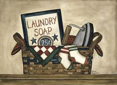 Great free primitive print for the laundry room, from the primitive pantry blog~