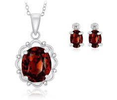 $19.99 - 6.5 Carat Garnet Oval Pendant and & Genuine Diamond Earrings in Sterling Silver