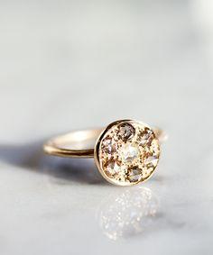 14K Champagne & White Diamond Ring