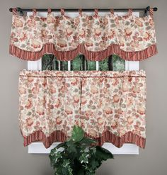 Pureti Alicia Eliminaire Shield window treatments originally sold by JCP, add a touch of casual elegance to your kitchen/living space. These valance and tiers are a insulated foam back curtain,with needlepoint effect printed floral, printed stripe accent.  #Cafe #Tiers #Curtains