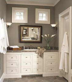Craftsman Style for the Basement Bath - Good use of space and color, I love the extra touch of speciality tile used as a low backsplash, functional and does not detract from the overall decor..just the perfect touch of color and texture.