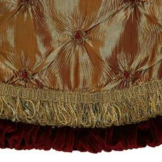 "Elegant Christmas Tree Skirts | Tree Skirts - 56"" Gold Tree Skirt with Burgundy Trim"