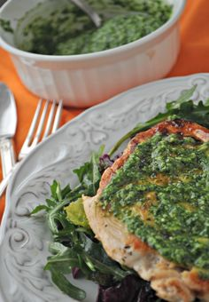 Pan Seared Chicken over Greens with Cilantro Pesto. It's the perfect summery dish! mountainmamacooks.com