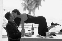 romanc, a kiss, first kiss, romantic dinners, food, dinner time, wine bottles, black, dessert