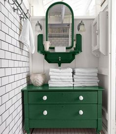 Flea-market-chest-turned-bathroom-storage; painted Rust-Oleum's Hunter Green.    #bathroom #storage