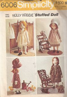 "Cloth Doll Pattern Free | ... doll and wardrobe. Dolls about 8"" high. UNCUT, 1982. Two patterns"