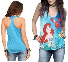 NEW DISNEY THE LITTLE MERMAID ARIEL TANK TOP BLOUSE SHIRT SEA PRINCESS HOT TOPIC