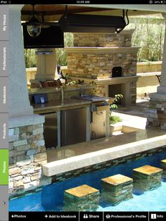 would love an outdoor kitchen with a pool bar..... no words because that is so so so i dont know because it's  so cool