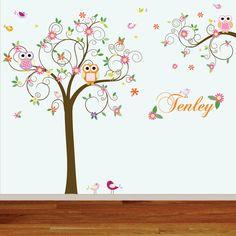 New design vinyl wall decal stickers swirl tree owl set nursery girls baby custom name. $165.00, via Etsy.