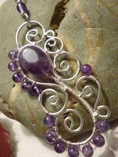 Freeform oval amethyst gemstone pendant wire jewelry by Juditta