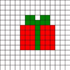 Christmas Present Perler Bead Pattern | Bead Sprites | Holidays Fuse Bead Patterns