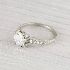 .88 Carat Vintage Art Deco Engagement Ring   New York Vintage & Antique Engagement Rings and Jewelry – Erstwhile Jewelry Co NY - LOVE the band