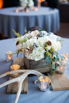 Brinton Studios, winter wonderland wedding, vail, donovan pavillion, centerpiece, antlers, tea lights, floral arrangement, Love this Day Events