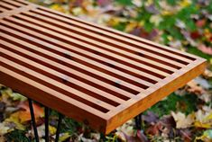 DIY Mid-Century Modern Outdoor Slat Bench