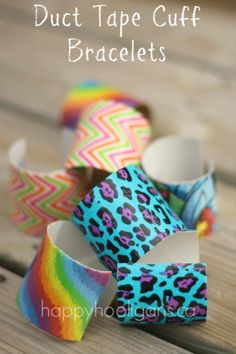 Duct Tape Cuff Bracelets- just need a toilet paper roll and some duct tape.  This blog has tons of fun ideas!