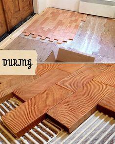 end slice of wood flooring, block floor, plywood floors
