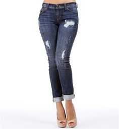 Medium Denim Distressed Cropped Jeans.  Love these for fall! #windsorstore