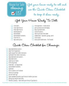 Getting ready to sell your house? Get it ready AND keep it clean during showings with this free printable from Clean Mama