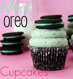 Mint Oreo Cupcakes!!  For bro